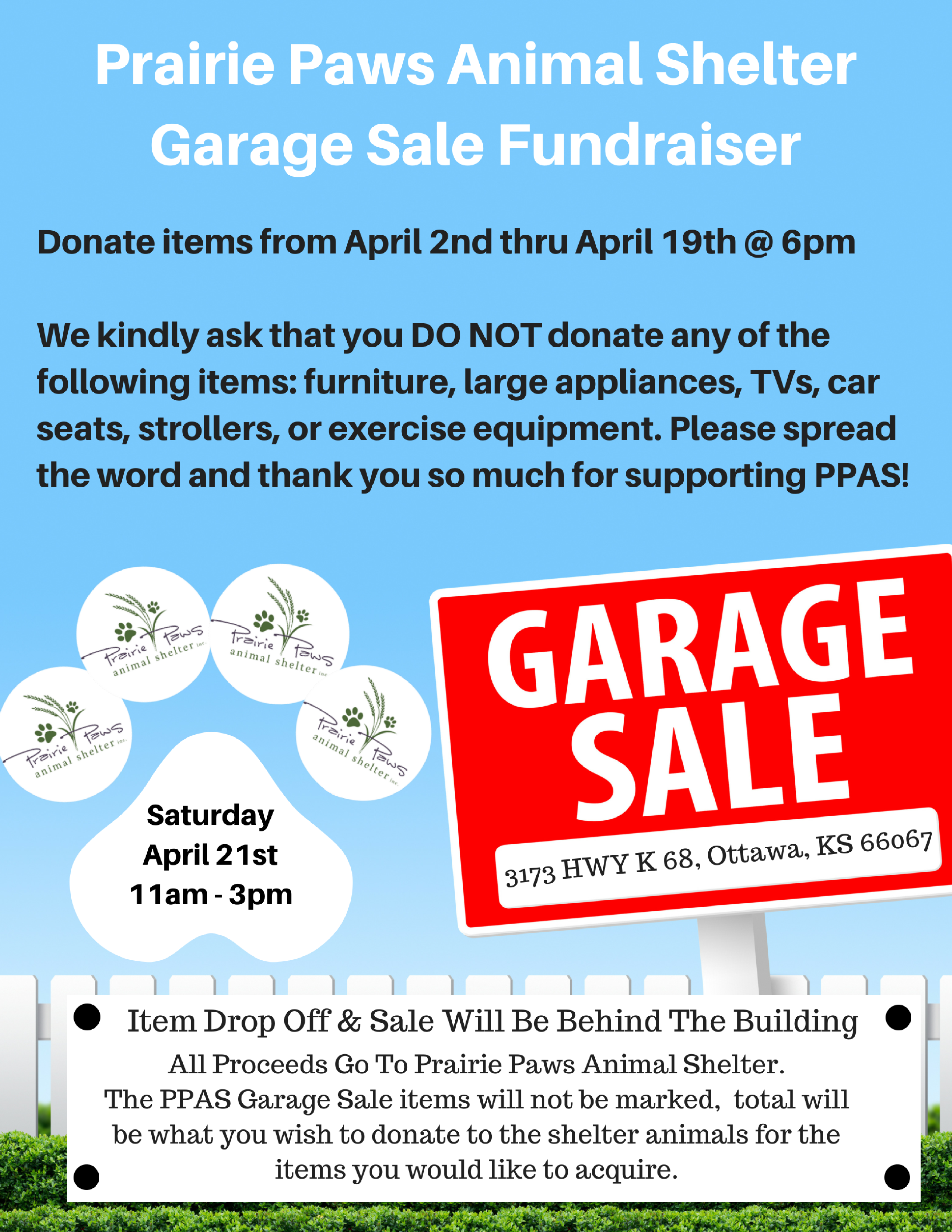 prairie paws garage sale april 21 2018 at prairie paws animal